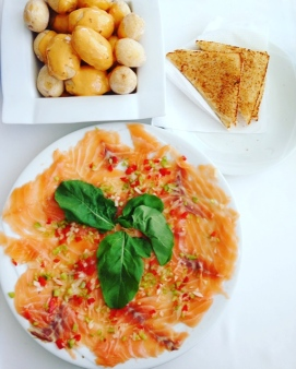 Salmon Carpaccio and Papas Arrugadas